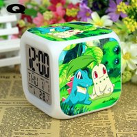 Wholesale Anime Digimon Pokemon alarm clocks Glowing LED Colorful Changed Digital Alarm Clock Night Light For Kids Birthday Christmas Gifts Supplies