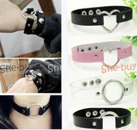 Wholesale Women Lady Punk Gothic Leather Choker Heart Chain Spike Rivet Buckle Collars Funky Torques Necklace Jewelry