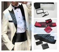Wholesale new set man dress cummerbund elegant girdle pocket towel bow tie groom waist seal tie chest towel gift box set decoration