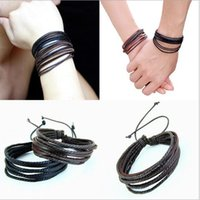 Wholesale Monochrome Leather Bracelet Pure Hand painted Leather Rope Bracelets Tribal Women Men Surfer Wrap Multilayer Leather Cuff Bracelet