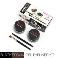 Wholesale 2 in Music Flower brand black brown gel Eyeliner Waterproof Anti smudge gel eye liner brush make up M1007