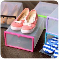 acrylic shoe boxes - Plastic simple thick transparent drawer type shoe storage box finishing box shoe box