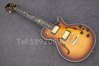 Wholesale Custom Shop Chinese Hollow body guitar Double F hole Tiger Flame Top LP electric guitar