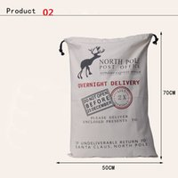 Wholesale Big promotion Large Canvas Monogrammable Santa Claus Drawstring Bag With Reindeers Monogramable Christmas Gifts Sack Bags jy060