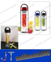 Wholesale NEW New ML Black cap Fruit Infusing Infuser Water Bottle Sports Health Lemon Juice Make Bottle MYY14370