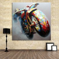abstract squares - 100 Pure Handmade Modern Wall Art Home Decoration Handpainted Painting Abstract Motorbike Decorative Paintings Oil Picture Pop Abstract Art