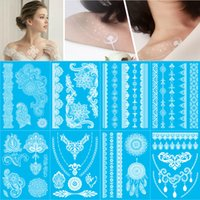 Wholesale 8pcs New brand Design India white Henna ink lace tatoo temporary sticker inspired flash sexy Bride tattoo body art