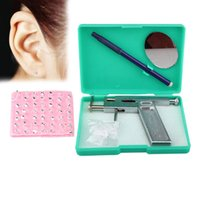 Wholesale New set Professional Stainless Steel Ear Nose Navel Body Piercing Gun Studs Tool Kit Set