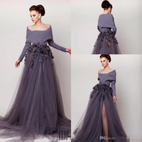 designer plus size - Designer Cheap Mermaid Evening Dresses With Long Sleeves Purple Tulle Formal Prom Party Gowns Spring Celebrity Dress High Slit Vintage