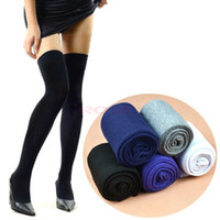 thigh high socks - Autumn Winter Fashion Women s Sexy Cotton Thinner Stocking Over The Knee Socks Thigh High Thinner Black White Gray Blue Colors
