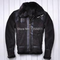 Wholesale Fall AVIREX USAF Flight suit Large lapel Genuine Leather Sheep skin Lambs wool Fur Men s fur jacket Men s leather jackets