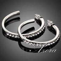 Wholesale AZORA Platinum Plated Stellux Austrian Crystal Round Design Hoop Earring TE0007