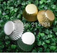 Wholesale 20000pcs mm Mini Gold Silver Cupcake Liners Aluminum Foil Baking Paper Cups Chocolate Cookie Cases DHL