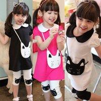 cat - 2015 summer girls fashion cartoon cat pieces suit cat dress cat leggings