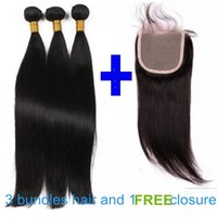 hair weave and wigs - 3 Bundles Silky Straight Hair weft and free lace closure Brazilian Virgin Hair Weft full head Mink Hair Virgin Human Hair Weave