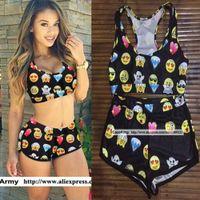 Wholesale Smiley Loves Emoji Printed Swimsuits Women Plus Size Swimwear Tankini with Shorts Pieces Bikini Set biquinis feminino tankinis