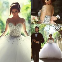 islamic wedding dress - Arabic Islamic Muslim Long Sleeves Plus Size Wedding Dresses Cheap Crystals Backless Ball Gown Vintage Middle East Bridal Gowns