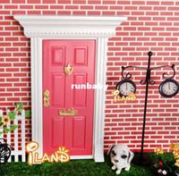 fairy door - 1 Dollhouse Miniatures Lovely Fairy Doors Dark Pink Exterior Door W Metal Accessories Exquisite