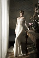 Wholesale Lihi Hod Wedding and Evening Dresses Off the Shoulder Lace Long Sleeve Bridal Dresses Fitted Evening Gowns Destination Wedding Dresses