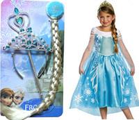baby magic dress - FROZEN ELSA Queen set dress Crown magic wand wig girl dress baby kid dress set elsa Princess dress