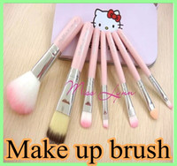 Wholesale 2014 high quality Set Hello kitty Make Up Cosmetic Brush Kit Makeup Brushes Pink iron Case