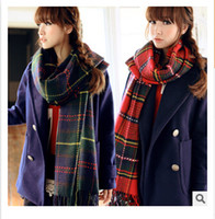 Wholesale 2014 colors autumn winter woman girls warm thicken long knit lovers men large chaddar plaid grid scarves shawls neckerchief topB825