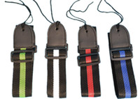 Wholesale Adjustable Durable Woven Nylon Guitar Strap with Leather Ends for Acoustic Electric Folk Guitars High Quality