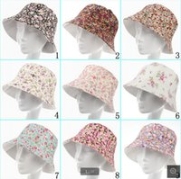 Wholesale 2015 hats new fashion bucket hat women cartoon printed flower hats girls sun caps canvas children beanie designs