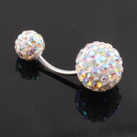 Wholesale Crystal Double Disco Ball Ferido Belly Bar Navel Belly Button Ring Shamballa Belly Ring Piercing jewelry mm