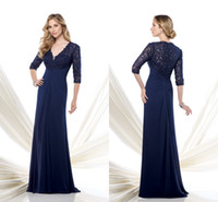 Cheap Reference Images mother of the bride lace dresses Best A-Line V-Neck navy blue mother of the bride dresses