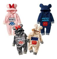Wholesale new babies cartoon characters newborn costumes babies bodysuits infant pajamas rompers hooded baby clothes
