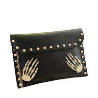 Cheap New 2014 Fashion Korean Designer Rivet Chain Envelope Single Shoulder Women Bags Skull Clutch Crossbody Punk Brand Handbags Z5