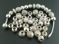Wholesale Mixed Antique Silver Acrylic Beads Spacers Beads Fit Pandora Bracelet European Charm B00211x2
