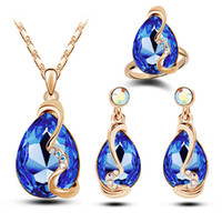 Wholesale Fashion Jewelry K Gold Plated Jewelry CZ Austria Crystal Drop Water Necklace Earrings Rings jewelry set