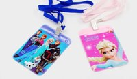 Wholesale New Arrival Children Cutting Ferrule Frozen Elsa Olaf Cartoon Renovate cm ID Holder With The Rope Practical Kids Childs plastic