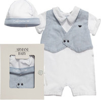 cotton baby romper - Baby Clothes Boys Rompers Summer Infant Gentleman Striped Waistcoat Style Short Sleeve One piece Sleepsuit Bodysuit Cotton Romper I3525