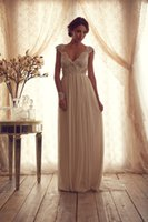 Wholesale V Neckline Sheath Bridal Dresses Sleeveless Wedding Dress Chiffon Beads Crystal Backless Ruched Court Train Elegant Bridal Gowns SKU192