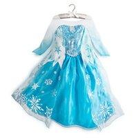 Wholesale Frozen dresses Elsa Anna dresses Long sleeve baby girl dress material cotton Size