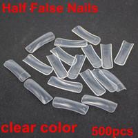 Wholesale 500pcs sizes clear color half false nails acrylic nails Nail Art Design wrap Tips Free Shippng nail art tool high quality