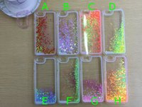 Flotante brillo Corazón Quicksand Líquido dinámico Fluorescente Hard Case Crystal transparente transparente Para iPhone 4s 5s 6 6 más galaxia S6 cubierta
