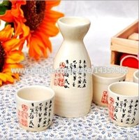 japanese ceramics - Ceramic Japanese Sake Set Elegant Sake Bottle and Cups Wine Gift White Handpainted Chinese Calligraphy Orchid Pavilion Design
