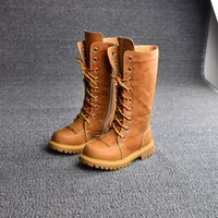 Wholesale 2015 winter Genuine cow leather shoes girls knee high boots children high quality boots baby fringe boots kids lace up thigh high boots