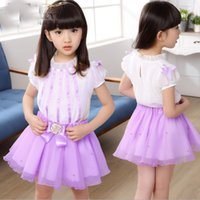 shirt puff sleeve - 2015 New Arrival Girls Fresh Style Short Sleeve Princess Set Childrens Summer Clothing Puff Sleeve Striped T shirt And Beaded Pleated Skirt