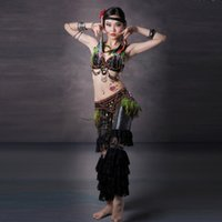 Belly Dancing Sequin Satin Stage Performance Luxury Tribal Dance Plume Tribal Belt Belly Dance Costume Women Tribal Bellydance Costume Tribal Dance