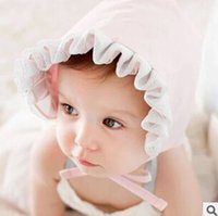 Wholesale 2015 Lovely baby hat cap for girls Soft Double layer cotton helmet Child Princess lace Hat wood ear Hat