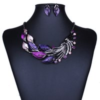 acrylic paintings trees - price Hot selling New design Women Jewelry Set Cheap color painting tree leaves necklace and earring set jewelry