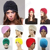 Wholesale J35 Stretchy Turban Head Wrap Band Sleep Hat Chemo Bandana Hijab Pleated Indian Cap