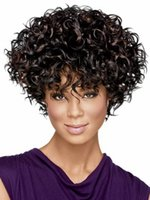 Wholesale 2015 Short kinky Curly hair Black wig for Women Synthetic wigsPixie cut wig cap Fashion pelucas sinteticas with bangs