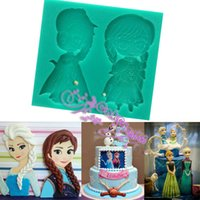 Wholesale Food Grade Frozen Elsa Anna silicone Soap Mold Chocolate Cupcake Mould Fondant Cake Decorating Tool Cooking Tools Bakeware Embossing Mat