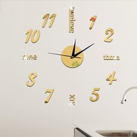 Wholesale Coffee Cup Clocks - Golden Luxury Wall Clock Coffee Cup Design DIY Wall Sticker Clock Mirror Effect Large Decorative Living Room Art Watch